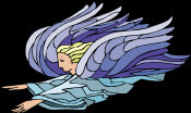 Flying Angel - with arms outstretched, dressed in blue, with pale purple wings.