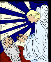 Angel Gabriel - appearing to an older man, palms outstretched, power emanating from them.