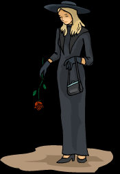 Cemetery Goth - dressed in black, looking at the ground, holding a red rose.