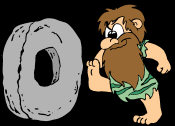 Comical Fantasy - a stone age caveman kicking a stone wheel along, whilst grinning.