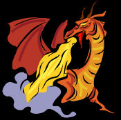 Western Dragon - with orange red skin and powerful wings, standing breathing fire!