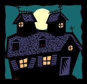 Haunted House - with ghostly red eyes peeping through the windows.