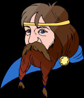 Viking Man - with long brown platted beard, moustache, golden jewellery and blue eyes.