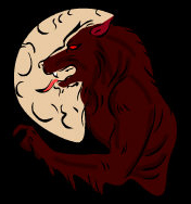 Werewolf - with red eyes, growling whilst standing infront of a full moon.