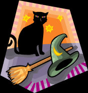 Witch Beliefs - a black cat, broomstick and witches hat.