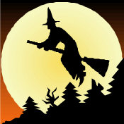Witch Flying - on her broomstick, above some trees, silhouetted against the moon.
