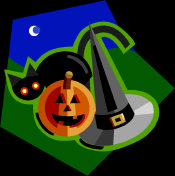 Witch Sabbats - a half moon, overlooking a black cat, Halloween pumpkin and witches hat.