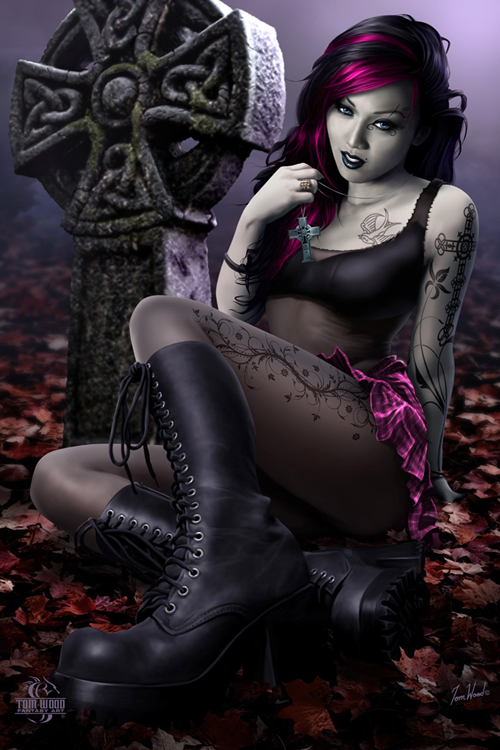Gothic Girl - Lavender Moonlight Cemetery Goth