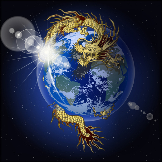 Dragon Land - with a Golden Chinese Dragon, guarding the Earth